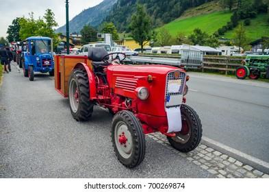 Meeting of historical tractors in austria