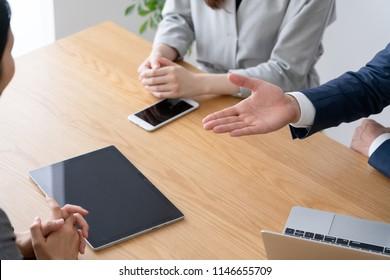 Meeting image, businessman, business woman
