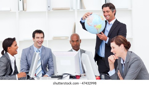 A meeting of a lucky business team about globalization in a company
