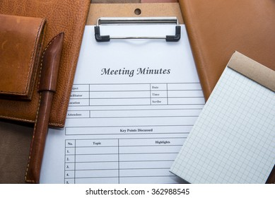 Meeting Minutes with leather stationery