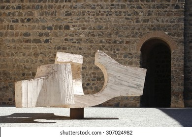 Meeting point Juantegui Eduardo Chillida sculpture in the Plaza de Fernando VI of Toledo, Spain, ironwork and concrete, a prominent follower of the tradition of Julio González and Pablo Picasso.