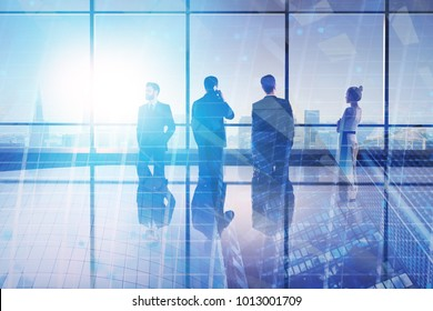 Meeting and research concept. Businesspeople in abstract iterior with city view. Double exposure