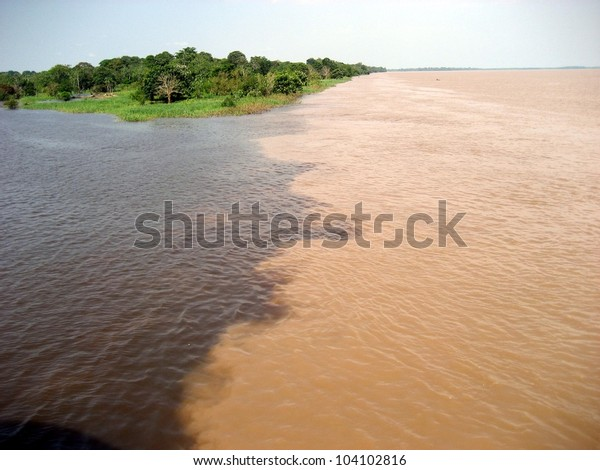 Meeting of the Rio Acuruí, (black water) and the Rio Solimoes (muddy water) at Amaturá in the Amazon, Brazil