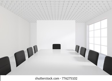 Meeting room and blank banner in interior with large window. 3D Rendering.