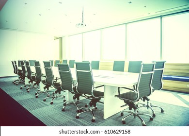 Meeting Room Conference Contemporary Stationary Concept with big Panoramic windows glass on massy business building center background . Horizontal mockup. Film effect.