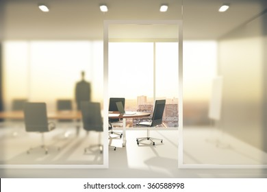 Meeting room with frosted glass walls 3D Render