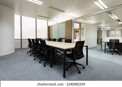 Meeting room with glass partition
