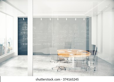Meeting room with a glass wall with copyspace 3D Render