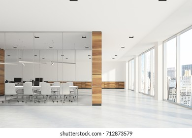 Meeting room interior with wooden and glass walls seen from a modern office lobby. Loft windows and a white furniture. 3d rendering mock up