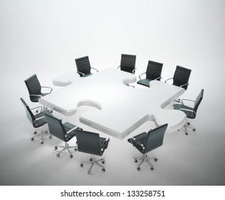 Meeting room with a puzzle shaped table -teamwork and cooperation concept