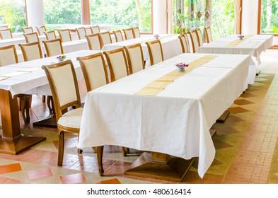 meeting room or seminar room. Selective focus