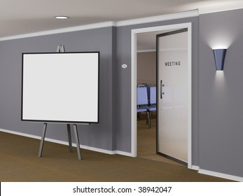 Meeting room with sign out front - plenty of copy space (3D Rendering)