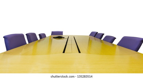 Meeting room with wooden table  and armchairs in white background. Office interior