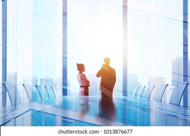 Meeting and success concept. Businesspeople in abstract iterior with city view. Double exposure
