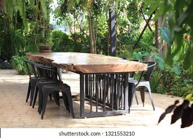meeting table in garden