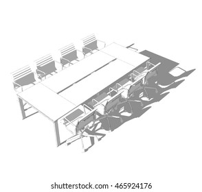meeting table sketchy 3d illustration