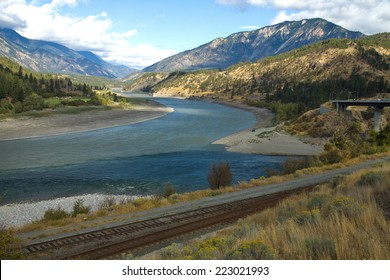 The meeting of the Thompson (right) and Fraser (left) Rivers, Lytton, British Columbia, Canada