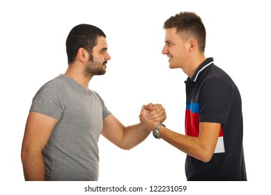 Meeting of two friends guys giving handshake isolated on white background