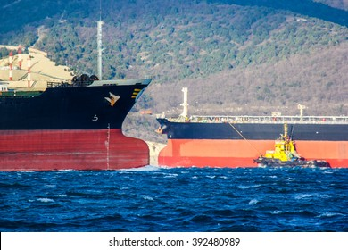 Meeting of two large oil tankers in the bay of Novorossiysk