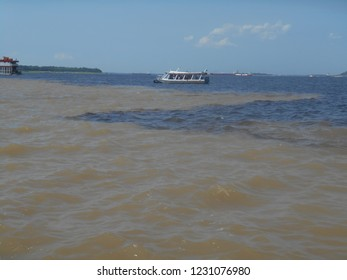 Meeting of the Waters, between the rivers Negro (dark water) and Solimões (clear water), near Manaus, Brazil