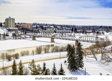 The Meewasin Valley in Saskatoon, Canada by the Broadway Bridge and Victoria Bridge.