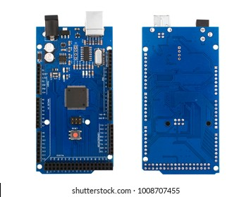 MEGA - Arduino Board for teaching electronics, programming and robotics. Two kinds - top and bottom close up on a white background isolated.