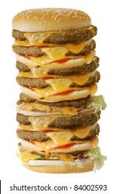 Mega cheeseburger isolated on white background