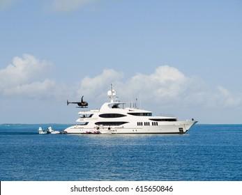 Mega yacht anchored in the Abaco's Sea, Bahamas.