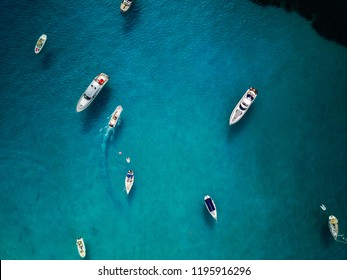 Mega yacht boats shot from above by drone in Ibiza