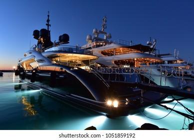 Mega yacht at dusk