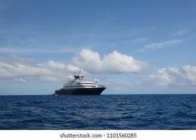 Mega yacht on blue ocean