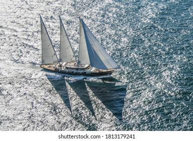 Mega Yacht Sailing on North Sea