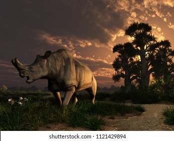 Megacerops coloradensis, a prehistoric rhinoceros, also known as brontotherium, lived in North America during Eocene, about 35 million years ago. 3D Rendering