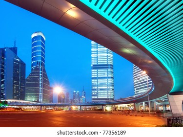 Megacity Highway at night with light trails in shanghai china.