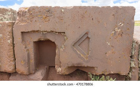 Megalithic stone with intricate carving in the complex Puma Punku, Bolivia