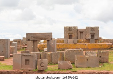 Megalithic stones with intricate carving in the complex Puma Punku, Bolivia