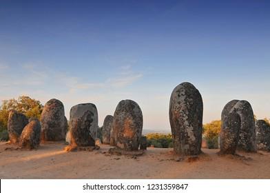 Megaliths of Cromlech of Almendres, Alentejo, Portugal.