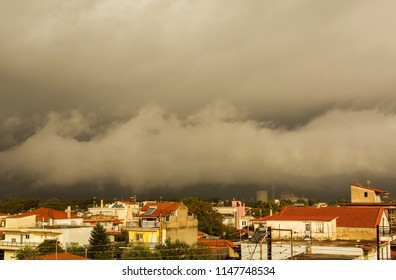 MEGALOPOLI, GREECE - OCTOBER 11, 2015: Storm sky over the city of Megalopoli, Peloponnese, Greece
