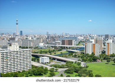 Megalopolis and the Tokyo skytree on clear blue sky background