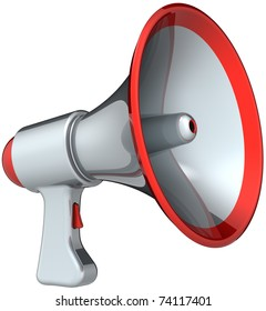 Megaphone announcement communication. Silver grey with red parts bullhorn loudspeaker classic. Attention message warning concept. This is a detailed render 3d (Hi-Res). Isolated on white background