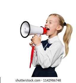 Megaphone Announcement, School Child Girl Announce Scream using Speaker, Kid Isolated over White Blackboard