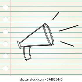 megaphone doodle on paper
