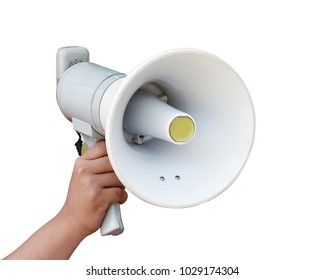 Megaphone with hand holding isolated on white background. This has clipping Path.
