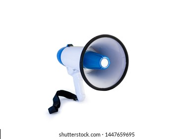 Megaphone white and blue isolated on white background