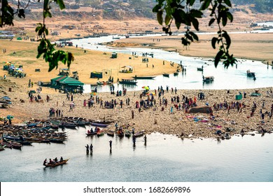 Meghalaya 11 March, 2020 : Panoramic  top view of Umngot River at Dawki on Bangla Desh border with tourists  and boating in crystal clear waters,  Meghalaya , North East, India, Asia