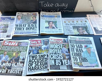 Meghan Markle, London, UK- 3.9.2021: UK tabloid press newspapers front pages after the Meghan Markle and Prince Harry Oprah interview, every Tabloid newspaper front page carrying interview revelations