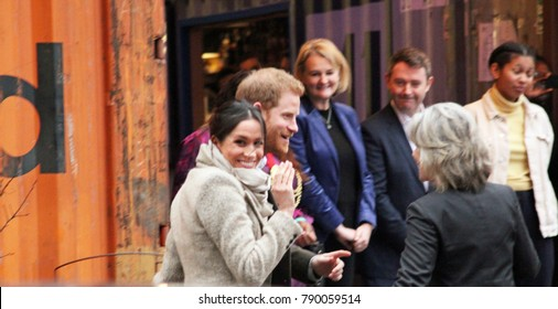 Meghan Markle & Prince Harry, London, UK. 9th January, 2018. Prince Harry and Meghan Markle visit Reprezent radio at POP Brixton to see work being done to combat knife crime in London