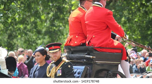 Meghan Markle & Prince Harry stock, London uk,  8 June 2019- Meghan Markle Prince Harry  Trooping the colour Royal Family Buckingham Palace Press stock, photo, photograph, image, picture,