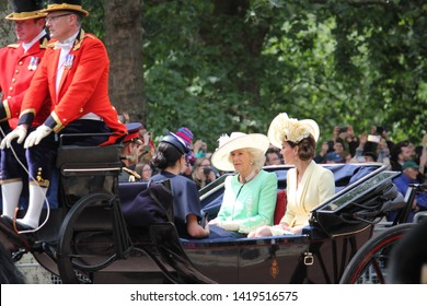 Meghan Markle & Prince Harry stock, London uk,  8 June 2019- Kate Middleton, Camilla Parker Bowles, Meghan Markle Prince Harry at Trooping the colour Royal Family Buckingham Palace stock Press photo