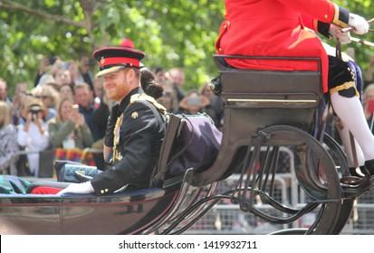Meghan Markle & Prince Harry stock, London uk,  8 June 2019- Meghan Markle Prince Harry  Trooping the colour Royal Family Buckingham Palace stock Press photo